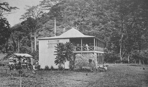 R.L. Stevensons hus i Valima, Samoa. Stevenson står på verandan.  Ett gammalt vykort från omkring 1893.